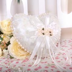Herzförmige Ring Kissen in Organza mit Faux-Perlen/Schnüren Gefüttert