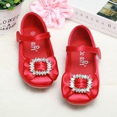 Fille de Bout fermé Satin talon plat Chaussures plates Chaussures de fille de fleur avec Strass Velcro