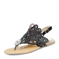 Женщины Мерцающая отделка Плоский каблук Сандалии На плокой подошве Открытый мыс Босоножки с горный хрусталь Имитация Перл обувь