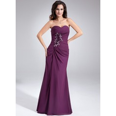 Sheath/Column Sweetheart Floor-Length Chiffon Evening Dress With Ruffle Beading Flower(s)