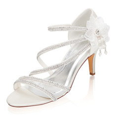 Women's Silk Like Satin Stiletto Heel Peep Toe Sandals With Rhinestone Flower