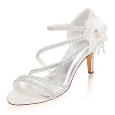 Kvinder silke lignende satin Stiletto Hæl Kigge Tå sandaler med Rhinsten Blomst