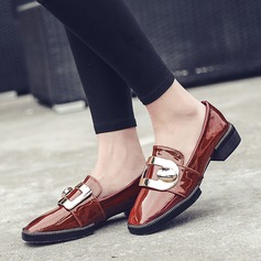 Women's Patent Leather Low Heel Flats With Sparkling Glitter Buckle shoes