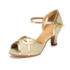 Mulheres Couro Espumante Glitter Saltos Sandálias Latino com Fivela Sapatos de dança