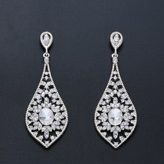 Ladies' Elegant Alloy/Zircon Earrings For Bride