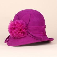 Damen Elegant Wollen mit Blume Bowler/Kapotthut