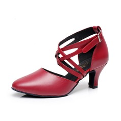 Women's Real Leather Heels Ballroom With Ankle Strap Buckle Dance Shoes