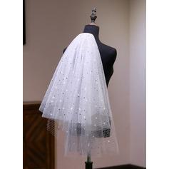 Zweischichtig Schnittkante Ellenbogen Braut Schleier mit Spitze