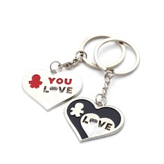 Personalized Cut-out Love Zinc Alloy Keychains (Set of 6 Pairs)