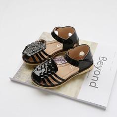 Fille de Cuir verni talon plat bout rond Chaussures plates avec Velcro