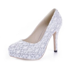 Sparkling Glitter Lace Cone Heel Pumps Platform Closed Toe shoes (085038759)