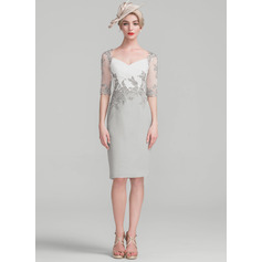 Sheath/Column Knee-Length Chiffon Lace Cocktail Dress With Ruffle