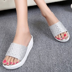 Women's Leatherette Low Heel Slippers With Rhinestone shoes