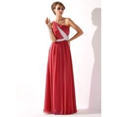 A-linjeformat One-Shoulder Golvlång Chiffong Aftonklänning med Rufsar Beading Paljetter