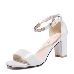 Kvinder PU Stor Hæl sandaler Kigge Tå med Spænde sko