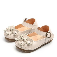 Girl's Round Toe Closed Toe First Walker Leatherette Flat Heel Flats Flower Girl Shoes With Velcro Flower