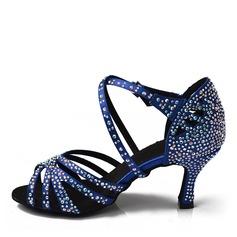 Women's Satin Heels Latin With Rhinestone Dance Shoes