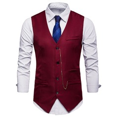 Solid Color Polyester Viscose Men's Vest (200207900)