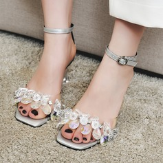Women's Real Leather Stiletto Heel Sandals Beach Wedding Shoes With Buckle Rhinestone