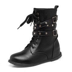 Women's Leatherette Flat Heel Flats Closed Toe Boots Knee High Boots Mid-Calf Boots Snow Boots Martin Boots Riding Boots With Rivet Buckle Lace-up shoes