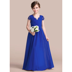 A-Line/Princess V-neck Floor-Length Chiffon Junior Bridesmaid Dress With Ruffle Lace Bow(s) (009095095)