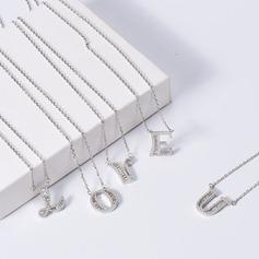 Personalizado Pareja ' Chispas 925 plata de ley con Redondo Cubic zirconia Collares iniciales Collares Ella/Novia/Niña de las flores (011206604)