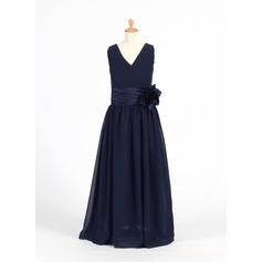 A-Line/Princess Floor-length Flower Girl Dress - Chiffon/Charmeuse Sleeveless V-neck With Flower(s)