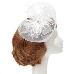 Elegant Net Yarn/Feather Fascinators With Crystal