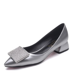 Mulheres Pano Salto robusto Bombas Fechados com Strass sapatos