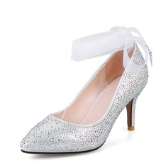 Women's Sparkling Glitter Stiletto Heel Pumps Closed Toe With Bowknot Lace-up shoes