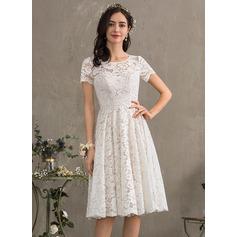 Corte A Escote redondo Hasta la rodilla Encaje Vestido de novia