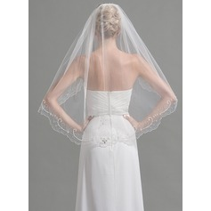 One-tier Fingertip Bridal Veils With Beading/Sequin