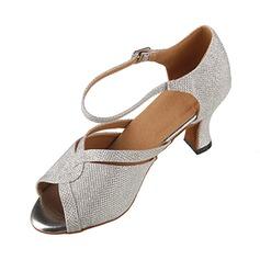 Mulheres Espumante Glitter Saltos Sandálias Latino com Fivela Sapatos de dança