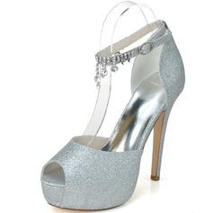 Kvinnor Glittrande Glitter Stilettklack Peep Toe Plattform Pumps Sandaler med Strass Tofs