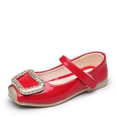Fille de Cuir verni talon plat Bout fermé Chaussures plates avec Strass Velcro