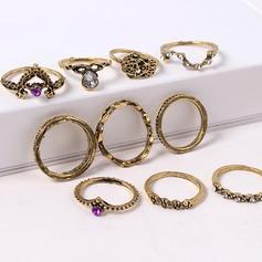 Mode Legering Steentjes met Strass Vrouwen Fashion Ringen (Set van 10 paar)
