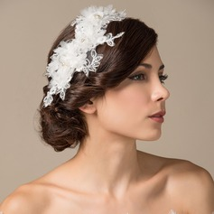 único Perlas de imitación/Seda artificiales/Encaje Flores y plumas/Diademas