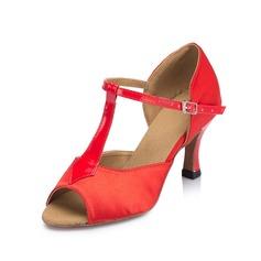Mulheres Cetim Couro Saltos Sandálias Latino com Correia -T Sapatos de dança