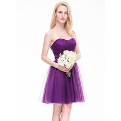 Vestidos princesa/ Formato A Amada Coquetel Tule Vestido de madrinha com Pregueado