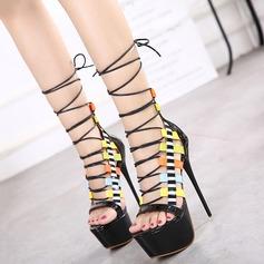 De mujer Cuero Tacón stilettos Sandalias Plataforma Encaje con Cordones zapatos