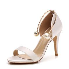 Kvinder Satin Stiletto Hæl sandaler Pumps Kigge Tå med Imiteret Pearl sko