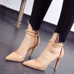 Women's Suede Stiletto Heel Pumps Closed Toe With Buckle Split Joint shoes (085111606)
