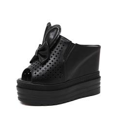 Femmes PU Talon compensé Sandales Plateforme Compensée À bout ouvert avec Bowknot chaussures