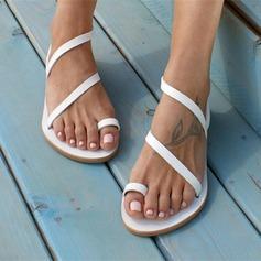 Vrouwen Kunstleer Flat Heel Sandalen Flats Peep Toe schoenen