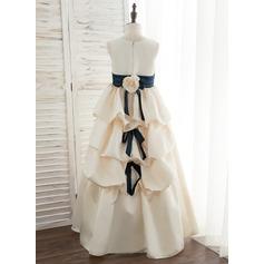 Robe Marquise/Princesse Longueur ras du sol Robes à Fleurs pour Filles - Satiné Sans manches Col rond avec Ceintures/Fleur(s)