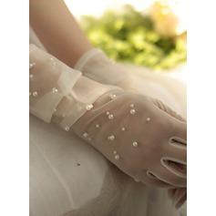 Tyl/Imiteret Pearl Wrist Længde Brude Handsker (014203328)