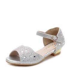 Girl's Microfiber Leather Flat Heel Peep Toe Flats With Rhinestone Velcro