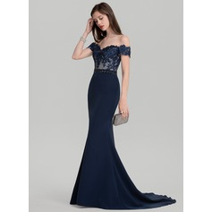 Trompete/Meerjungfrau-Linie Off-the-Schulter Sweep/Pinsel zug Satin Abendkleid mit Perlstickerei Pailletten (017126619)