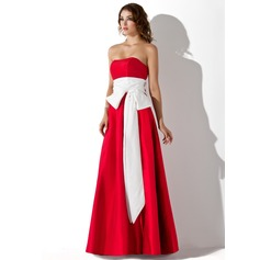 Empire Strapless Floor-Length Taffeta Bridesmaid Dress With Sash Bow(s)