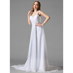 A-Line/Princess Sweetheart Chapel Train Chiffon Wedding Dress With Ruffle Lace Beading
